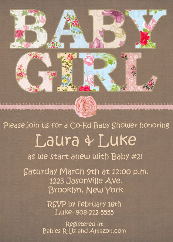 shabby chic baby shower invitation print at home by printedbymom 12