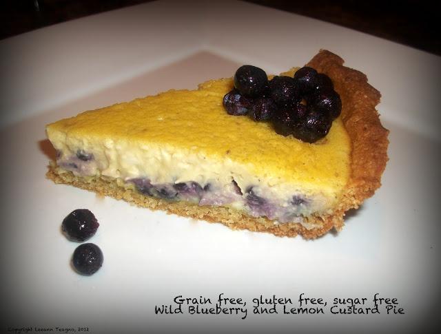 ... free, gluten free, sugar free Wild Blueberry and Lemon Custard Pie