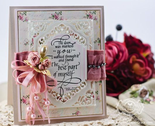 Card Making Ideas by Becca Feeken using New 2014 Spellbinders A2 Divine Eloquence and new Quietfire Design