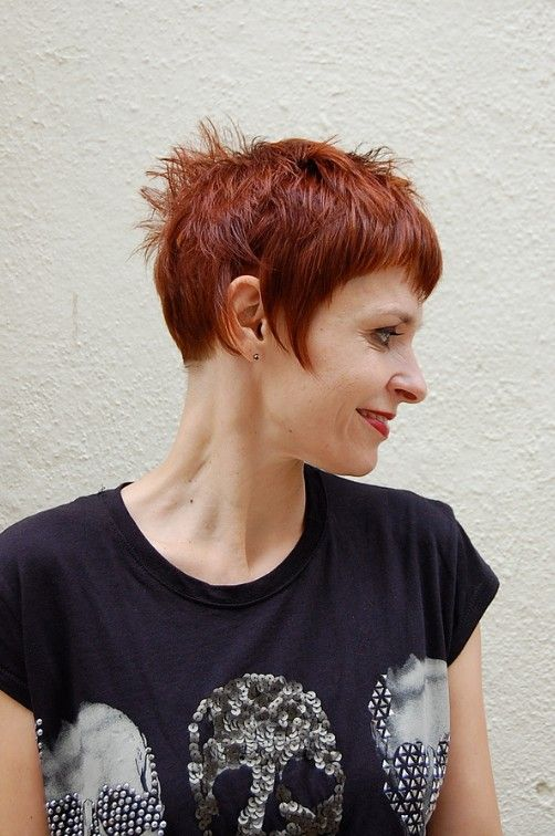 Short Chic Red Haircut with Short Stylish Straight Bangs | Hairstyles Weekly