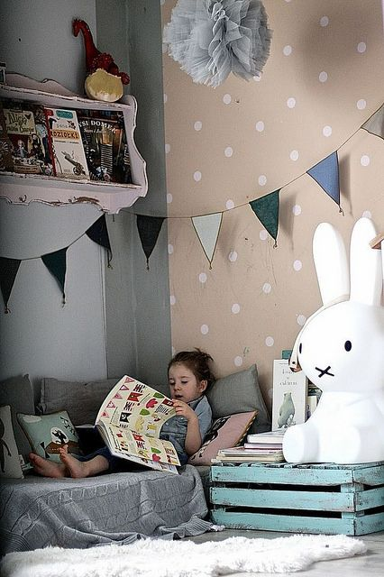 kids room by Paul Paula, via Flickr - love the childrens room with the reading corner and spotty wallpaper