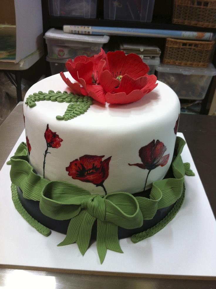 Poppy Rose Cake Design : fondant poppy flower cake cake ideas Pinterest