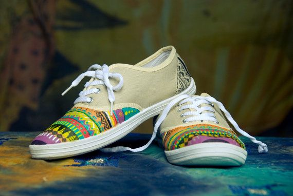 Hand painted shoes, aztec plimsolls, colorful shoes for women MADE TO
