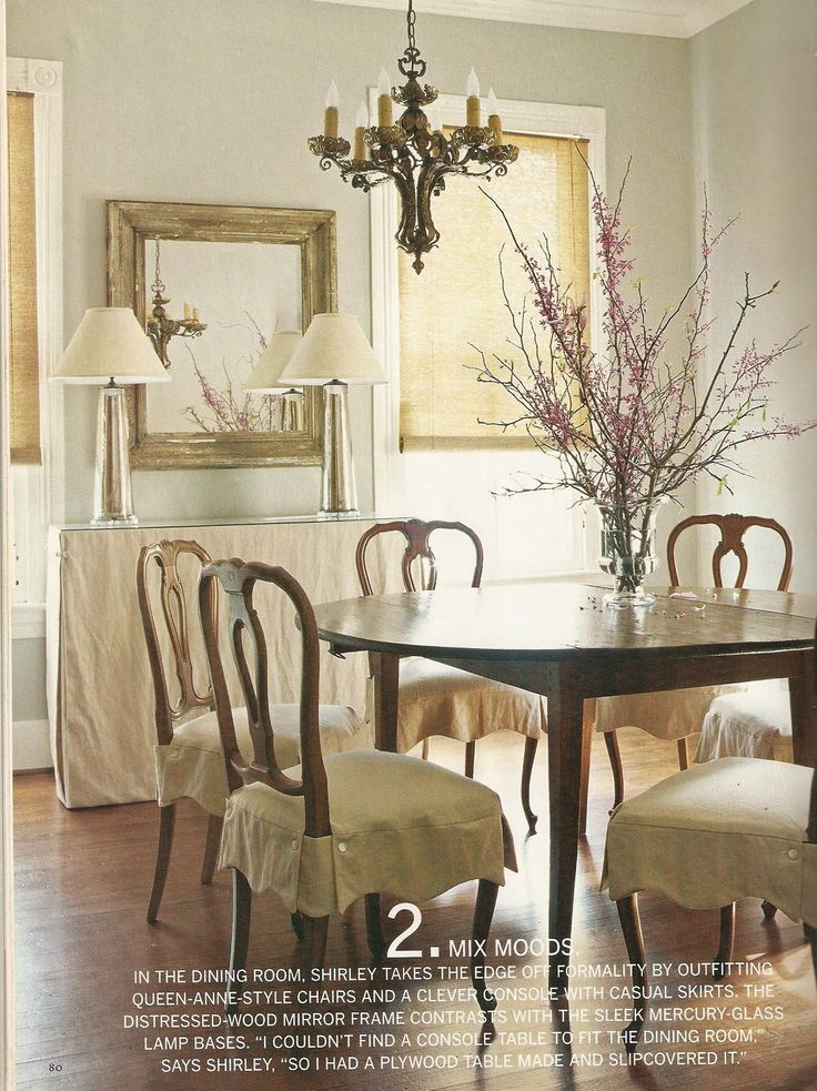 Slip skirts lamps buffet dining spaces pinterest for Dining room queen anne