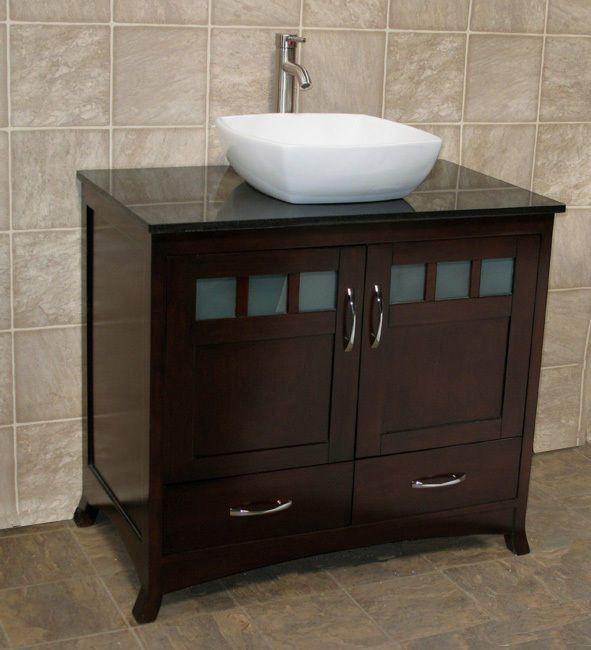 36 bathroom vanity cabinet black stone granite top ceramic vessel si