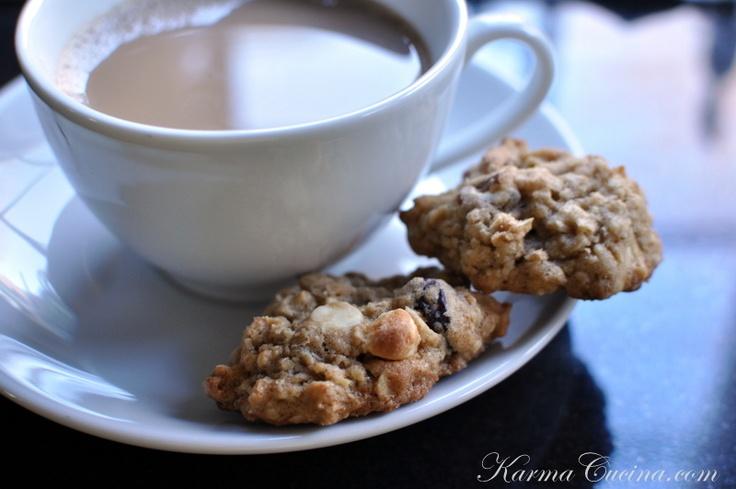 chewy white chocolate cherry pecan oatmeal cookies...yum!