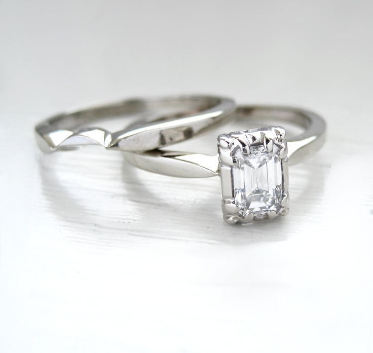 Vintage 14kt White Gold Emerald Cut Diamond Solitaire Engagement Ring…