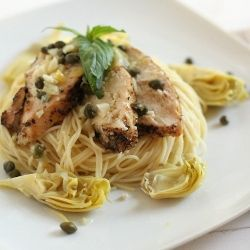 Chicken, artichoke and capers with angel hair pasta. How to feed an ...