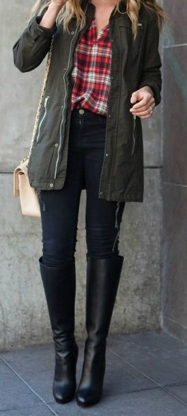 Cozy Fall Outfits • Black Leather Long Boots • Forest Green Parka Jacket • Plaid Shirt • Casual Skinny Jeans • Hand Bag •