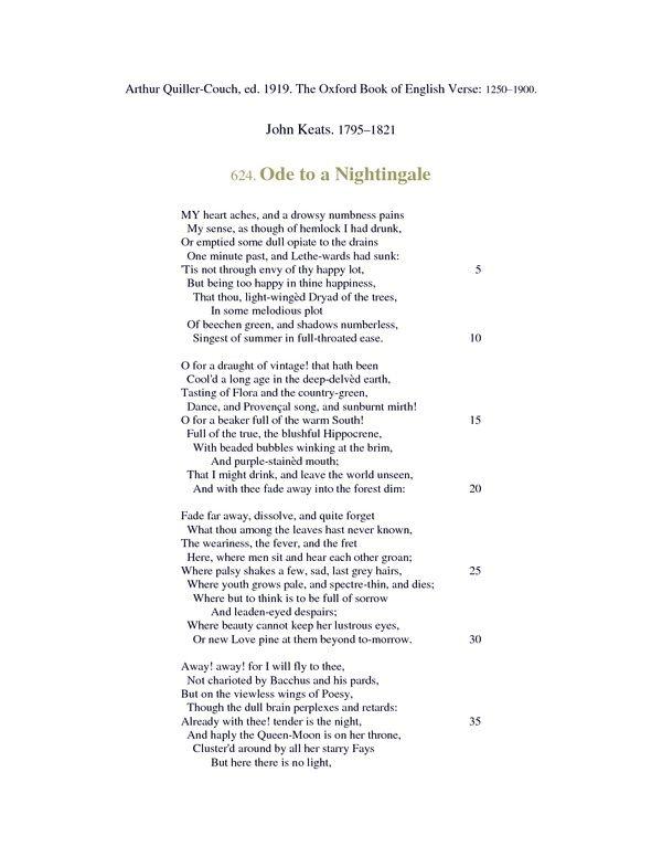 Ode To A Nightingale John Keats Poetry Pinterest