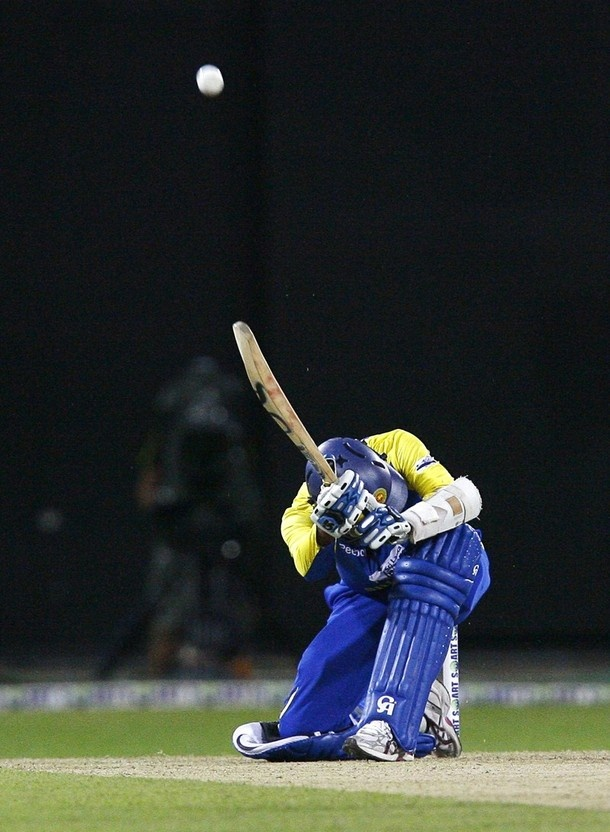 Tilakaratne Dilshan unveils the Dilscoop at the T20 World Cup in '09.
