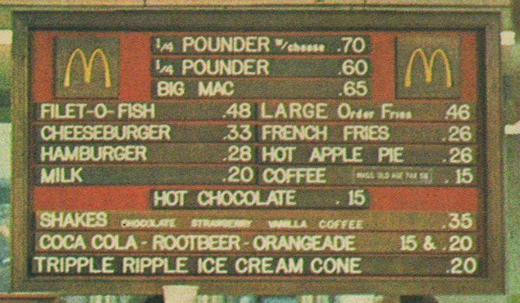 Mcdonald s menu 1970 blast from the past pinterest