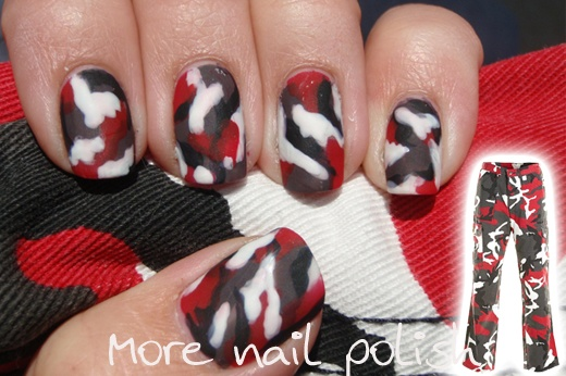 Red camo nail art