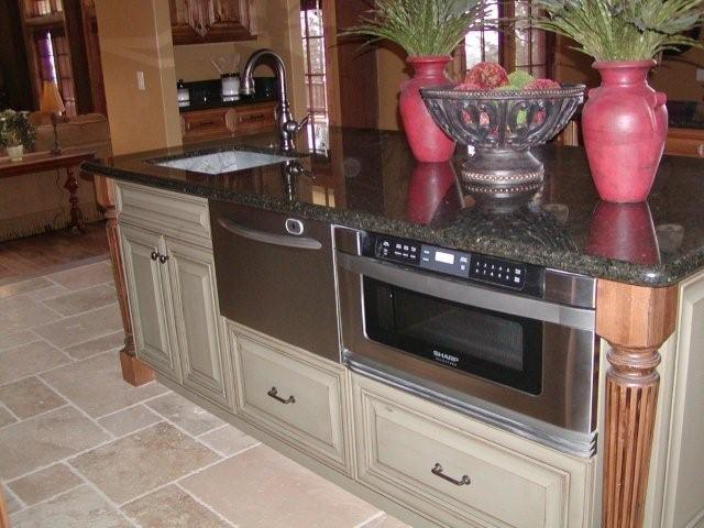 Cabin kitchen island rustic pinterest for Log cabin kitchen islands