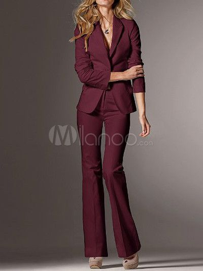 Creative  Suit NEW Burgundy Red TwoButton Jacket Women39s Size 18 Pant Suit Set