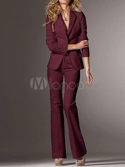 Creative  Suit NEW Burgundy Red TwoButton Jacket Women39s Size 18 Pant Suit Set