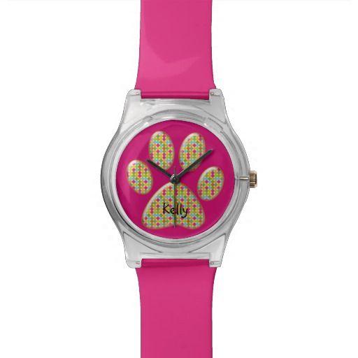 rainbow polka cat paw print wristwatch.
