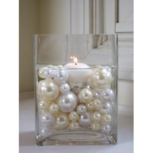 Elegant Vase Fillers - 34 Oversized Ivory Pearl Beads and White Pearl Beads