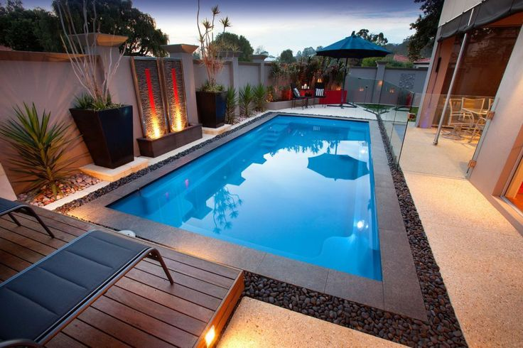 Narrow Yard with pool  Contemporary Landscaping  Pinterest