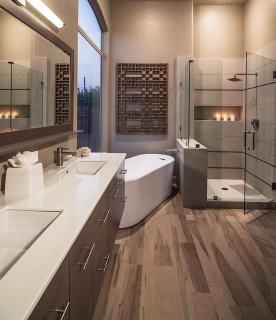 Beautiful warm amp contemporary bathroom the view from
