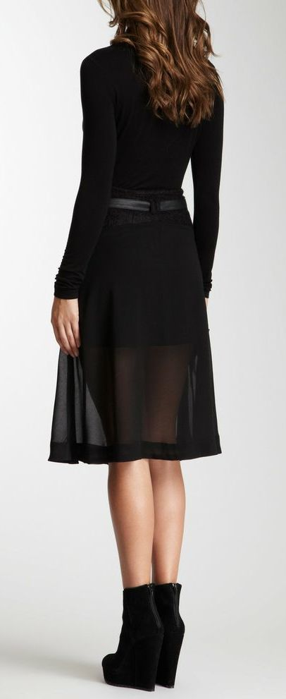 Sheer skirt all black outfit