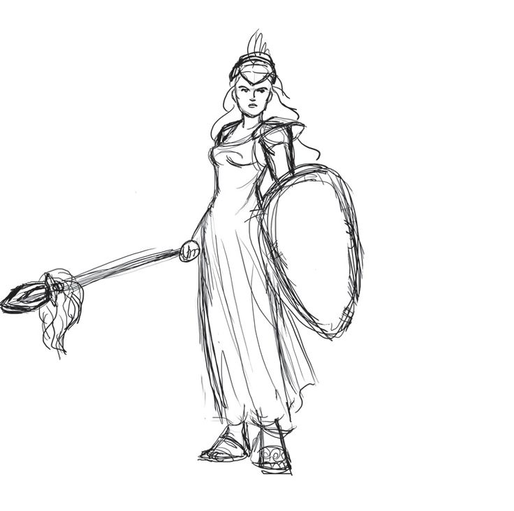 Goddess Athena Easy Coloring Pages