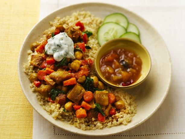 Slow Cooker Vegetable Curry with Couscous #vegetarian