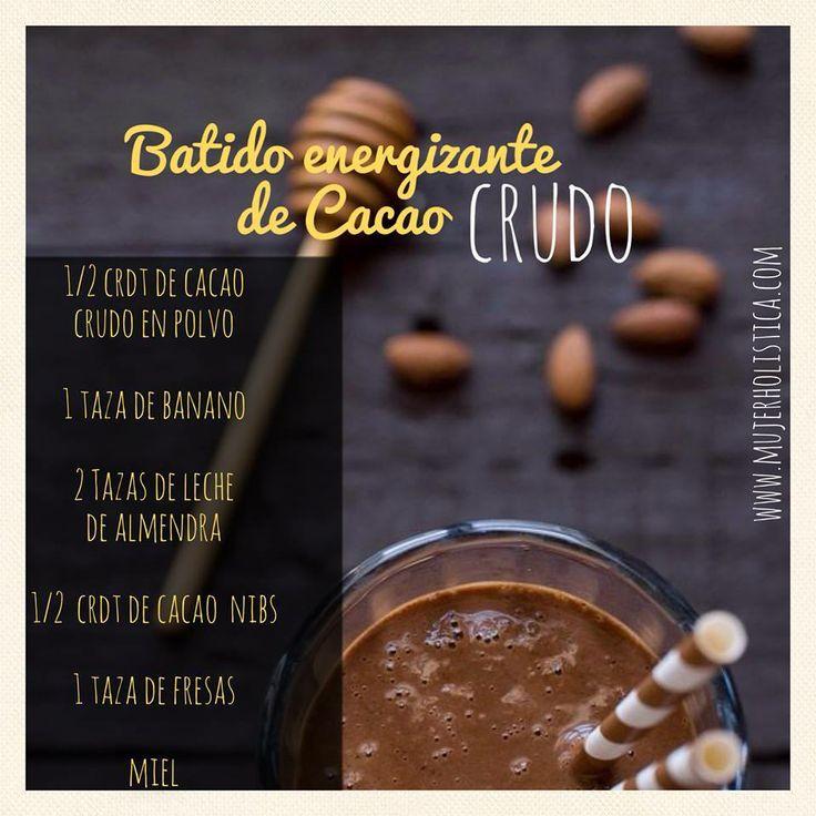 Para conocer sobre las propiedades de el Cacao, super food por excelencia: http://mujerholistica.com/cacao/     Este batido te ayudará a enfrentar hasta el día más retador. El cacao te brinda energia y aumenta la producción de seratonina (la hormona feliz!), por lo que te pone de buen humor.