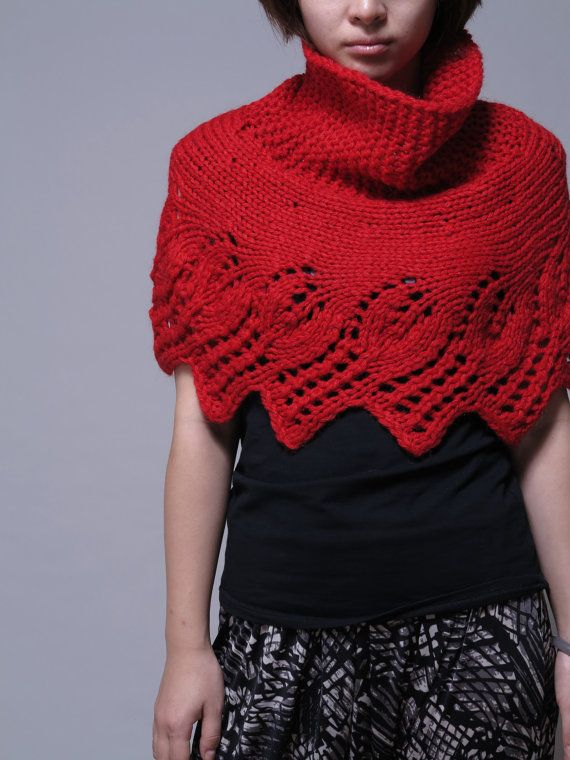 Knitting Pattern Poncho Sweater : Hand knit sweater - capelet poncho scarf in Red weaving leaves pattern