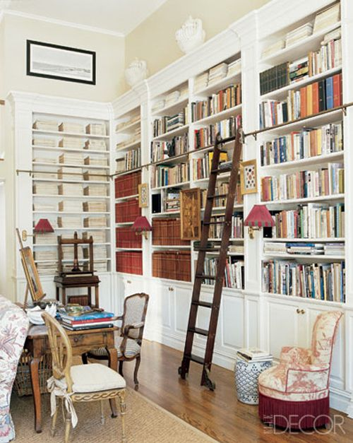 library w ladder | Libraries with rolling ladders | Pinterest