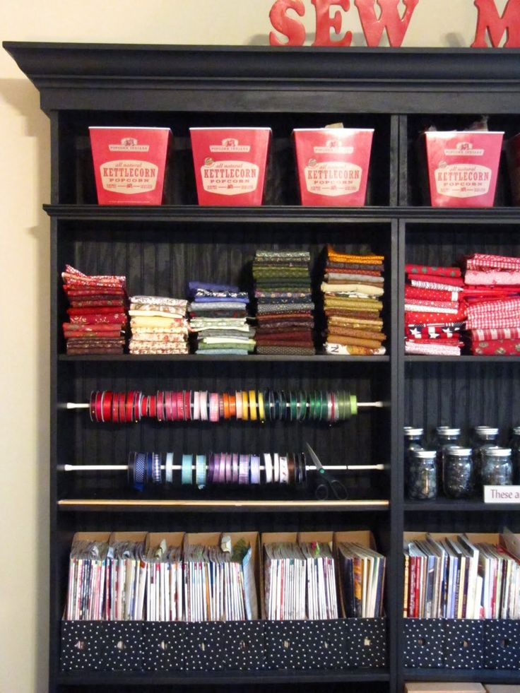 Tension rods for ribbon -- brilliant! (great for small spaces)