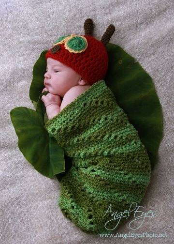 Very Hungry Caterpillar Crochet Hat Pattern Free : Very Hungry Caterpillar Hat and Cocoon Set - Newborn ...