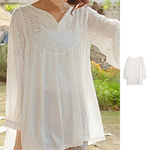 Long Sleeve Cotton White Blouse 72