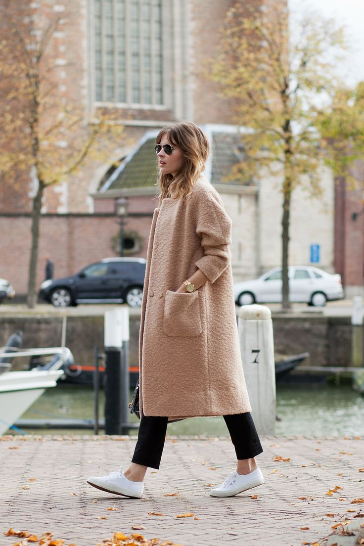 Camel coat, tailored trouser and crisp white sneakers for all day city wandering / the love assembly