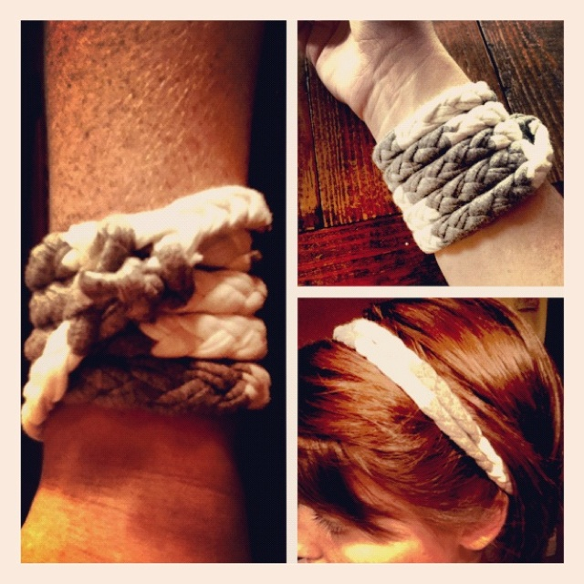 Upcycled from an old scarf, doubles as bracelet or headband