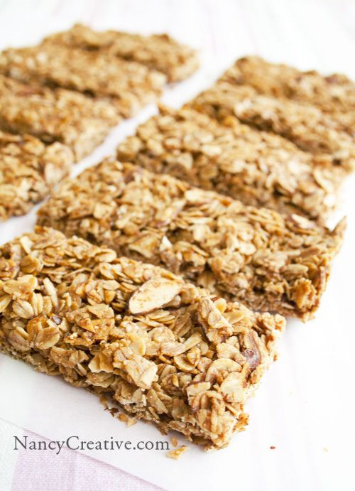 Crunchy Honey Almond Granola Bars | recipes | Pinterest