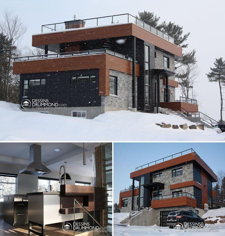 Maison contemporaine maison moderne modern house plan - Plan de maison quebec ...