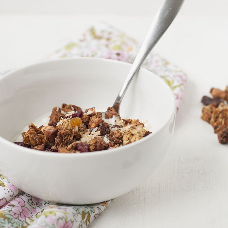 Date-Sweetened Granola with Peanut Butter, Coconut, and Dried Fruit
