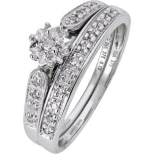 Buy 9ct White Gold Diamond Bridal Ring Set at Argos - Your ...