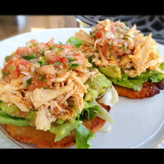 Chicken tostada salad- use whole wheat pita for bottom