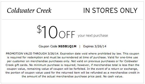Coldwater creek discount coupons