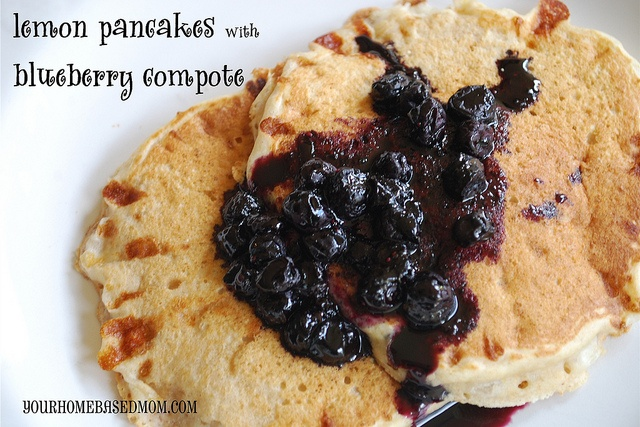 Lemon Pancakes with Blueberry Compote @Leigh Anne,Yourhomebasedmom @ ...