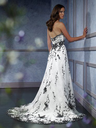 Pin by gretchen burneko on a dream is a wish your heart for White wedding dress with black accents