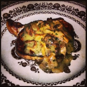 grilled pork chops with white wine morel mushroom sauce