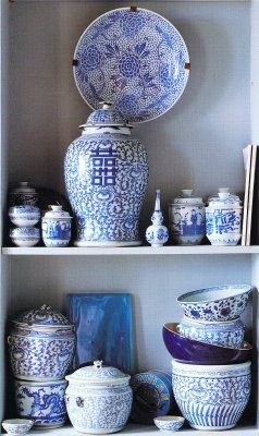 blue and white ginger jar and bowls