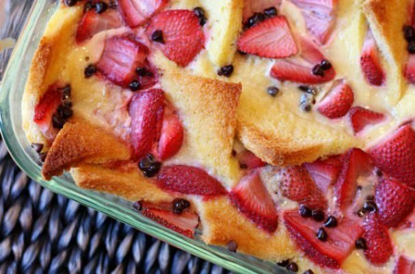 Strawberry Chocolate Chip Bread Pudding