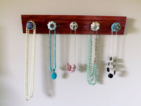 wooden necklace holder and garment rack