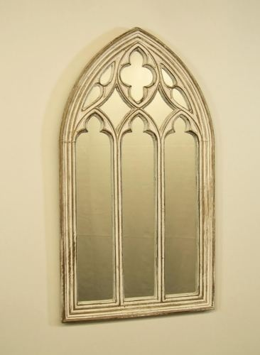 Gothic arched church window mirror white and gold for Church style mirrors