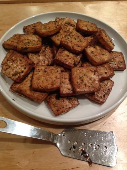 Rosemary-Lemon Baked Tofu. Photo by Kismettimestwo