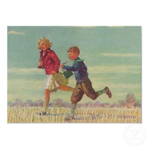 Vintage Children Running to School zazzle_print